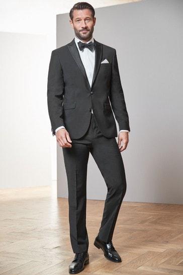 Black Regular Fit Signature Tollegno Fabric Tuxedo Suit: Jacket
