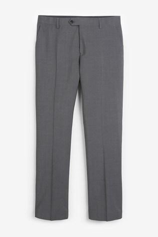 Grey Regular Fit Signature Tollegno Fabric Suit: Trousers