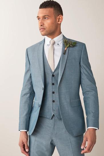 Light Blue Slim Fit Two Button Suit: Jacket