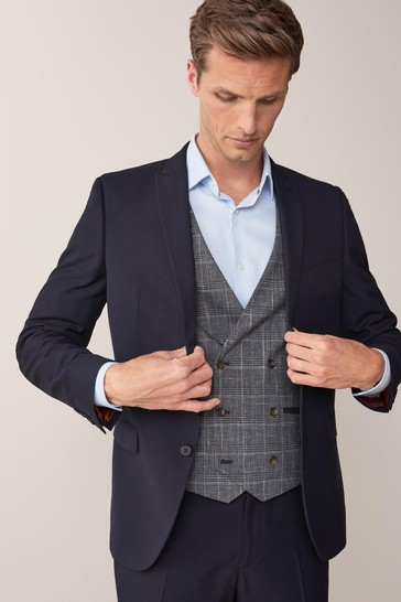 Navy Skinny Fit Two Button Suit: Jacket