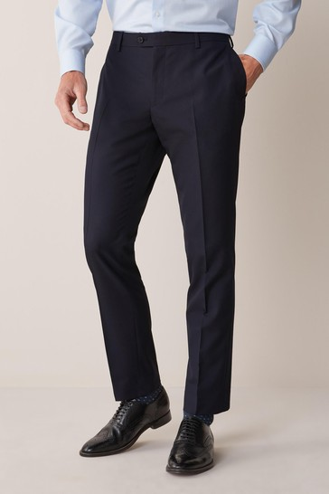 Navy Blue Tailored Fit Suit: Trousers