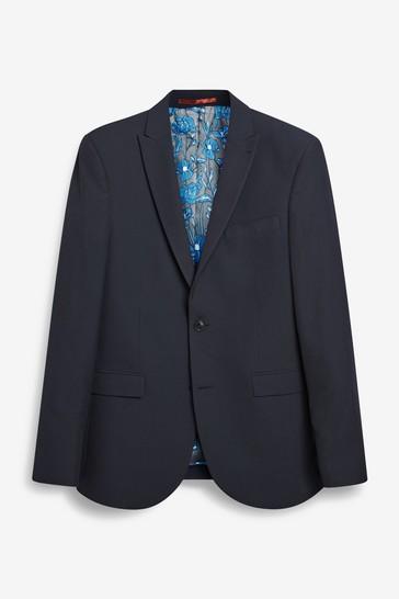Navy Blue Slim Fit Two Button Suit: Jacket