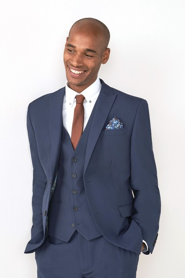Bright Blue Regular Fit Two Button Suit: Jacket