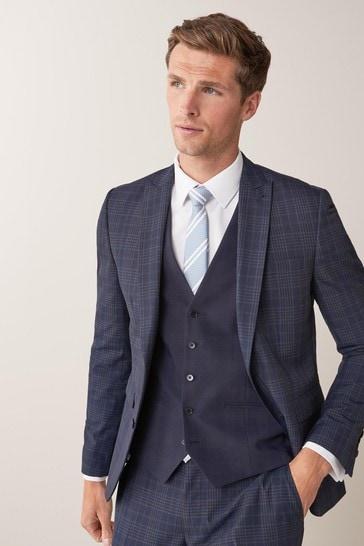 Navy Regular Fit Regular Fit Check Suit: Jacket
