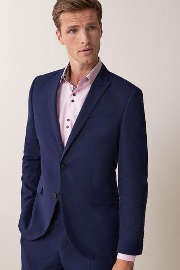 Bright Blue Slim Fit Two Button Suit: Jacket