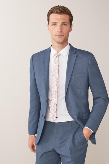 Blue Skinny Fit Stretch Marl Suit: Jacket