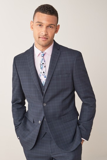 Navy/Black Tailored Fit Check Suit: Jacket