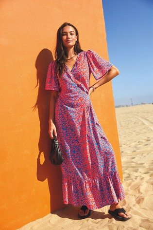 Bright Animal Short Sleeve Wrap Dress