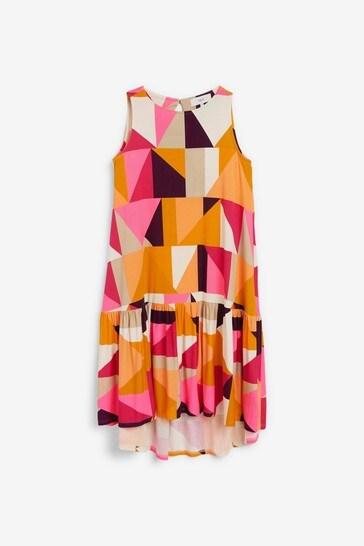 Bright Retro Print High Neck Midi Dress