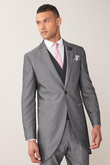 Grey Slim Fit Morning Suit: Jacket