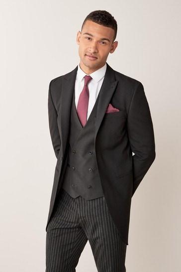 Black Slim Fit Morning Suit: Jacket