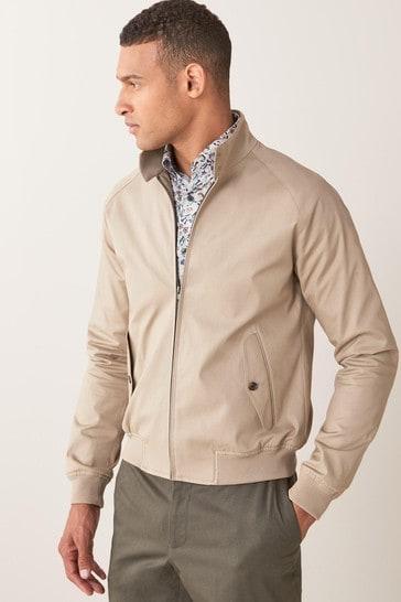 Stone Slim Fit Harrington Jacket