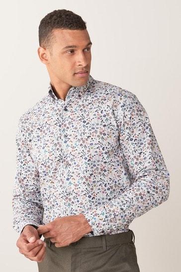 Ecru Floral Regular Fit Signature Printed Shirt With Trim Detail