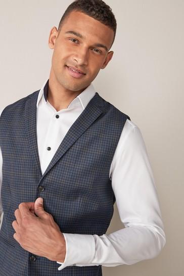 Blue Waistcoat Check Regular Fit Suit: Jacket