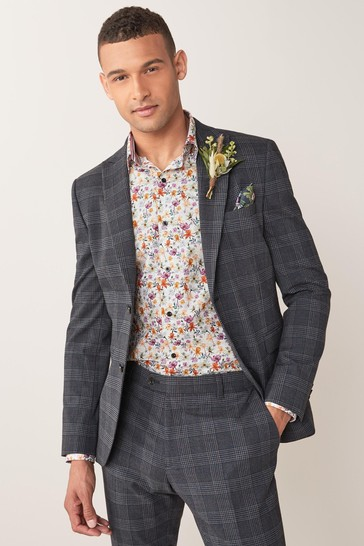 Blue Skinny Fit Check Suit: Jacket