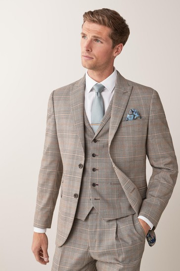 Taupe Slim Fit Check Suit: Jacket