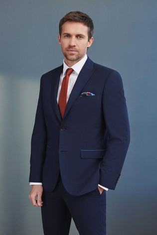 Navy Blue Tailored Fit Signature Puppytooth Suit: Jacket