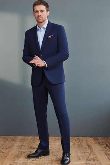 Bright Blue Tailored Fit Signature Tollegno Fabric Puppytooth Suit: Jacket