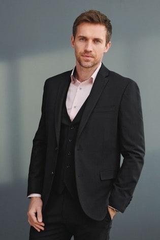 Black Slim Fit Signature Tollegno Fabric Motion Flex Suit: Jacket