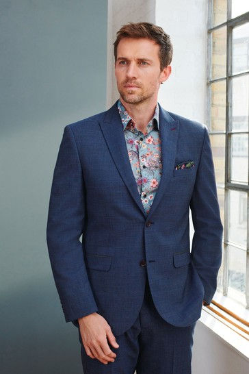 Blue Tailored Fit Signature Puppytooth Suit: Jacket