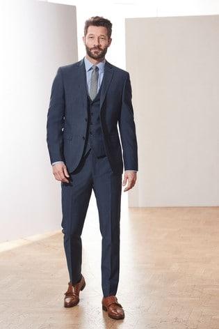 Blue Tailored Fit Signature Tollegno Fabric Suit: Jacket