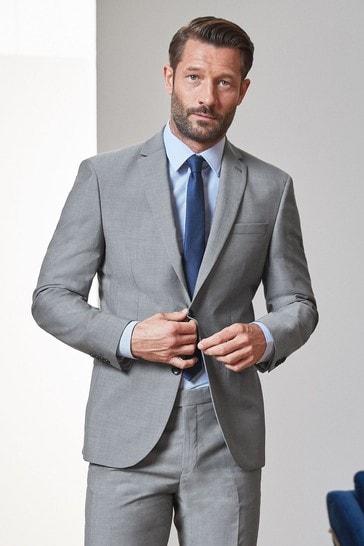 Light Grey Regular Fit Signature Tollegno Fabric Suit: Jacket