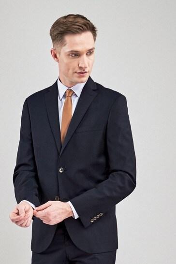 Navy Slim Fit Signature Tollegno Fabric Suit: Jacket