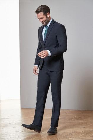 Navy Blue Regular Fit Signature Tollegno Fabric Suit: Jacket