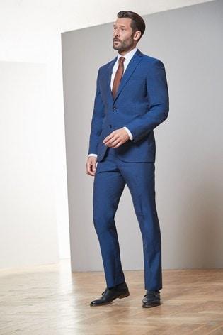 Bright Blue Regular Fit Signature Tollegno Fabric Suit: Jacket