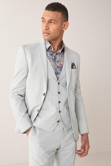 Light Grey Slim Fit Stretch Marl Suit: Jacket