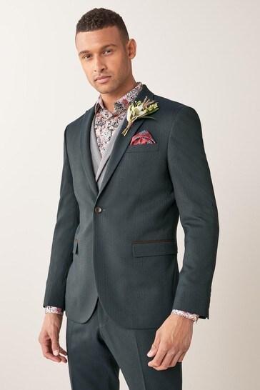 Green Slim Fit Herringbone Suit: Jacket