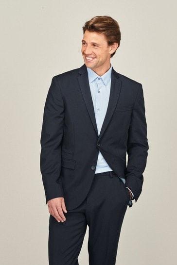 Navy Slim Fit Motion Flex Commuter Suit: Jacket