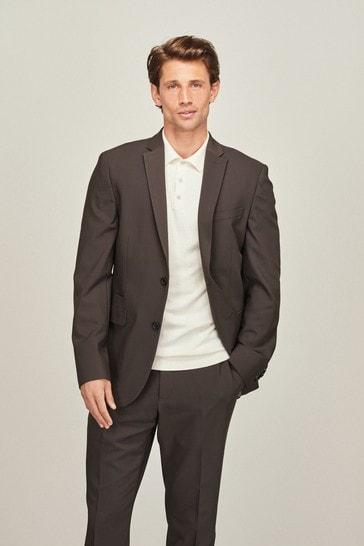 Khaki Green Slim Fit Motion Flex Commuter Suit: Jacket
