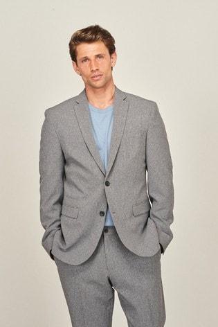 Grey Slim Fit Motion Flex Commuter Suit: Jacket