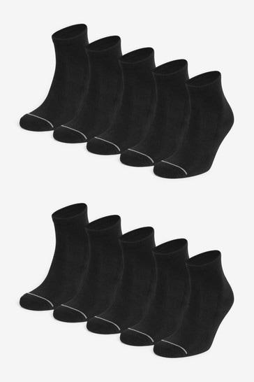 Black 10 Pack Mid Cut Sports Socks