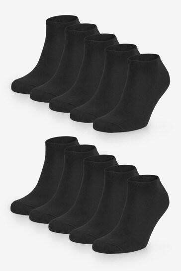 Black 10 Pack Trainer Socks