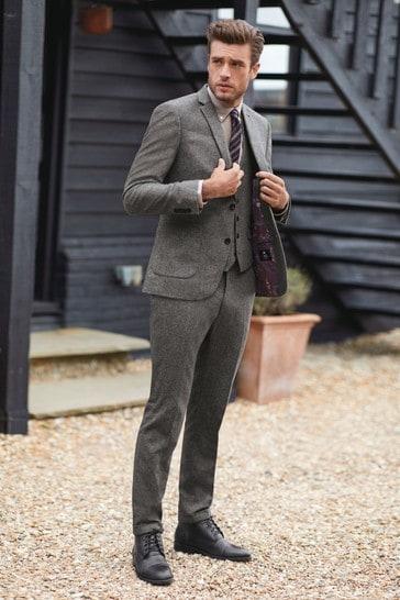 Grey Tailored Fit Nova Fides Wool Blend Herringbone Suit: Jacket