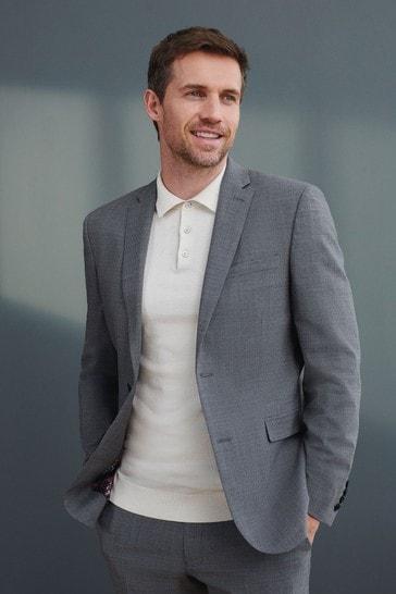 Grey Slim Fit Signature Tollegno Fabric Motion Flex Puppytooth Suit: Jacket