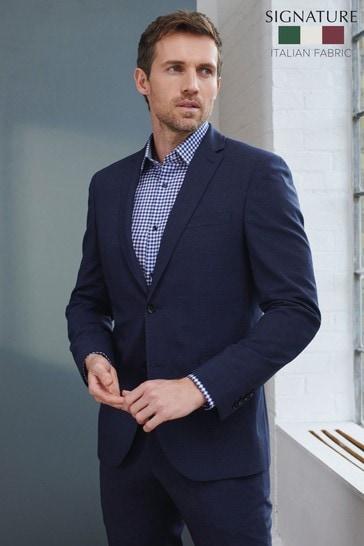 Navy Slim Fit Signature Tollegno Fabric Motion Flex Puppytooth Suit: Jacket