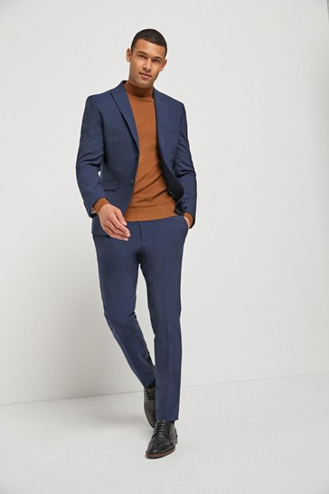 Bright Blue Skinny Fit Signature Tollegno Fabric Motion Flex Suit: Jacket