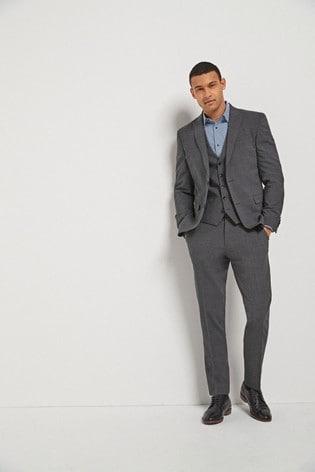 Grey Slim Fit Signature Tollegno Fabric Motion Flex Suit: Jacket