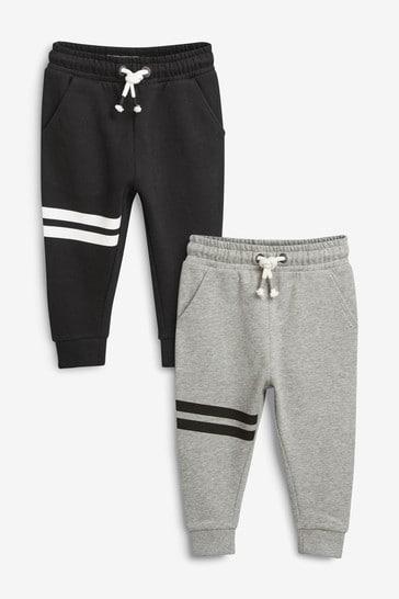 Black/Grey Joggers 2 Pack Stripe (3mths-7yrs)