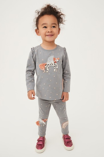 Charcoal Unicorn Leggings Jersey (3mths-7yrs)