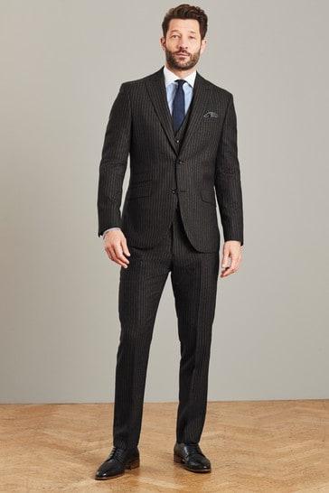 Black Stripe Slim Fit Signature Empire Mills Fabric Suit: Jacket