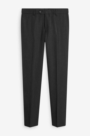 Black Stripe Slim Fit Signature Empire Mills Fabric Suit: Trousers