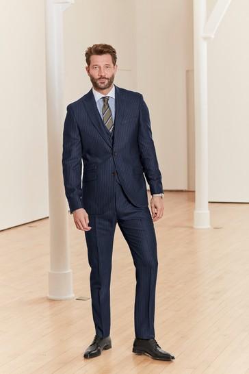 Blue Stripe Slim Fit Signature Empire Mills Fabric Suit: Jacket