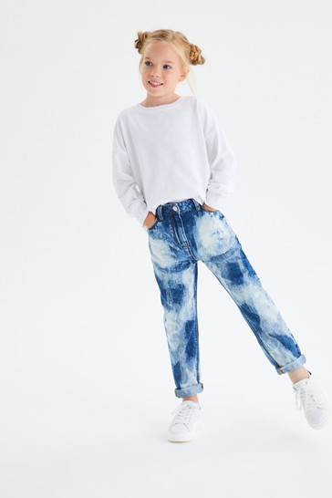 Mid Blue Tie Dye Mom Jeans (3-16yrs)