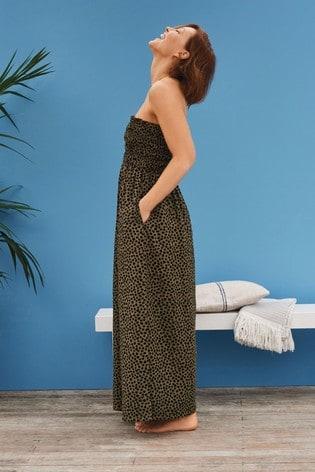 Green Animal Emma Willis Bandeau Maxi Dress