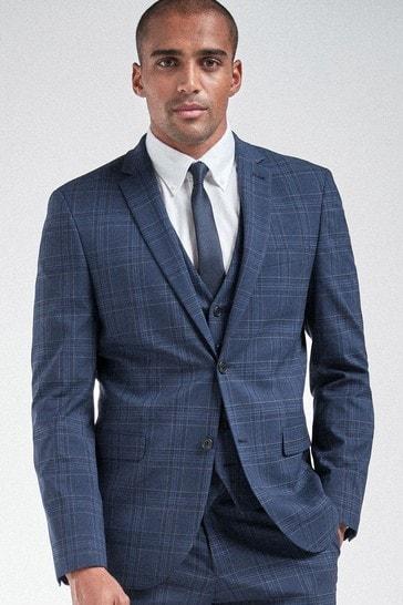 Bright Blue Slim Fit Check Suit: Jacket