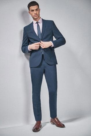 Bright Blue Slim Fit Wool Blend Stretch Suit: Jacket